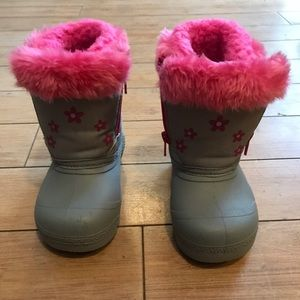 Skechers Kids Size 6 Snow Boots Pink Gray